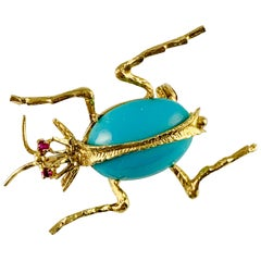 Vintage 18 Karat Yellow Gold Ruby and Turquoise Beetle Brooch or Pin