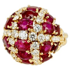 Vintage 18 Karat Yellow Gold Ruby Diamond Dome Bombe Ring