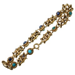 Vintage 18 Karat Yellow Gold Sapphire and Turquoise Mariner Bracelet