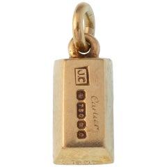 Vintage 18 Karat Yellow Gold Signed Cartier Ingot Charm