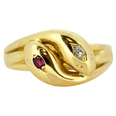 Vintage 18 Karat Yellow Gold Snake Ring with Ruby and Diamond, London, 1990s