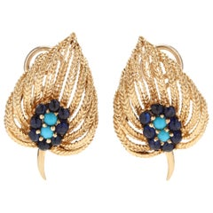 Vintage 18 Karat Yellow Gold, Turquoise and Sapphire Leaf Earrings