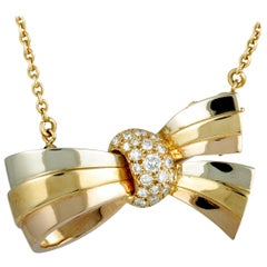 Vintage 18 Karat Yellow White and Rose Gold Diamond Bow Pendant Necklace/Brooch