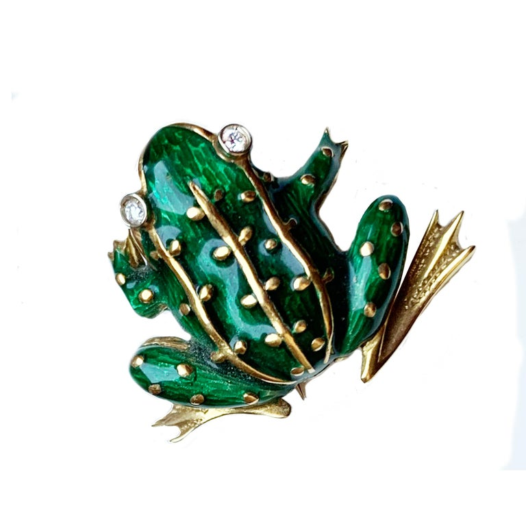 This brooch representing a frog was handmade by a skilled Italian goldsmith! Frogs play a variety of roles in culture, appearing in folklore and fairy tales such as the Brothers Grimm story of