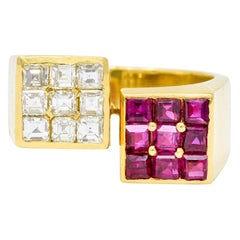 Vintage 1.80 Carat Ruby Diamond 18 Karat Gold Square Bypass Ring