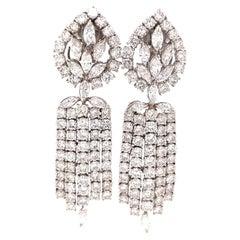 Vintage 18.5 Carat Diamond White Gold Day Night Earrings