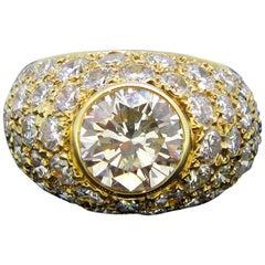 Vintage 1.85 Carat Diamond Yellow Gold Ring