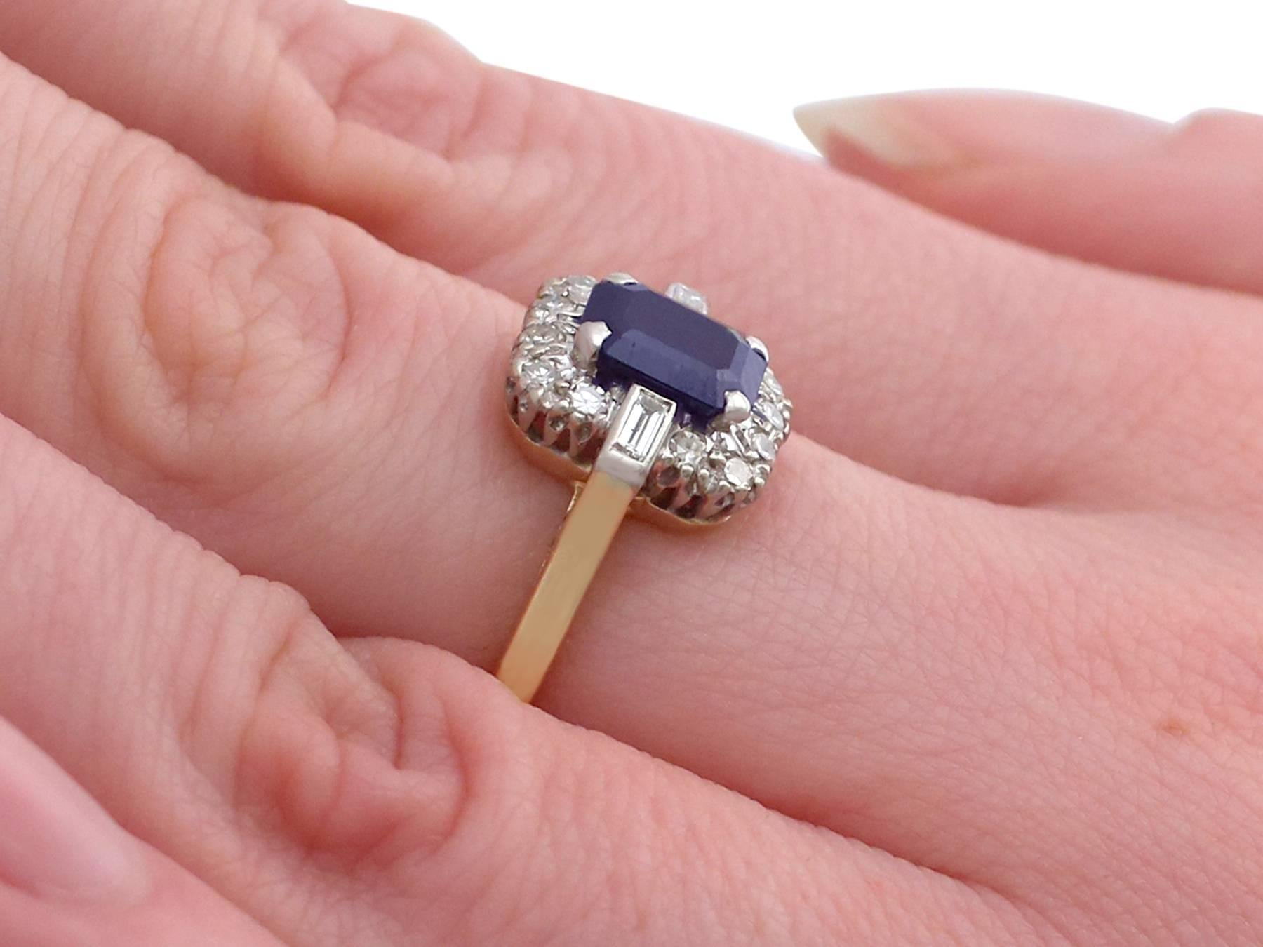Vintage 1.85 Carat Sapphire and Diamond Yellow Gold Dress Ring For ...