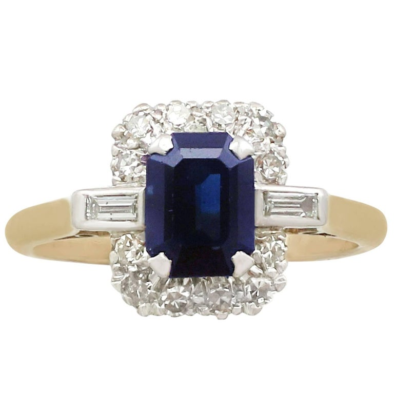 Vintage 1.85 Carat Sapphire and Diamond Yellow Gold Dress Ring