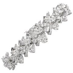 Vintage 18.52 Carat Pear Marquise Baguette Diamond Platinum Cocktail Bracelet
