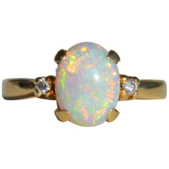 Vintage 1.86 Carat Opal Diamond 14 Karat Gold Engagement Ring