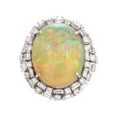 Vintage 18.81 Carat Opal Diamond 14 Karat Cocktail Ring