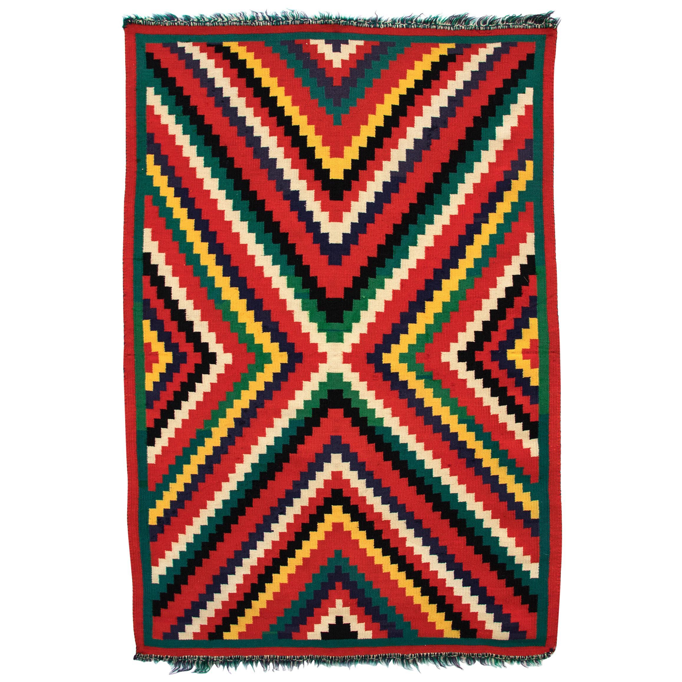 "Vintage 1890s Navajo Germantown ""Eye-Dazzler"" Blanket, Native American Antique"