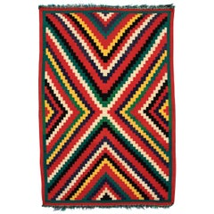 "Vintage 1890s Navajo Germantown ""Eye-Dazzler"" Blanket, Native American Antique"