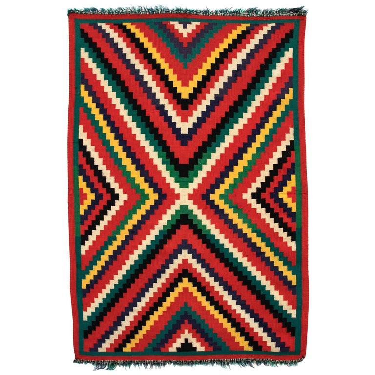 "Vintage 1890s Navajo Germantown ""Eye-Dazzler"" Blanket, Native American Antique For Sale"