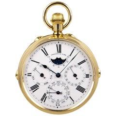 Vintage 1890s Rare World Time Full Calendar Pocket Watch 18 Karat Yellow Gold