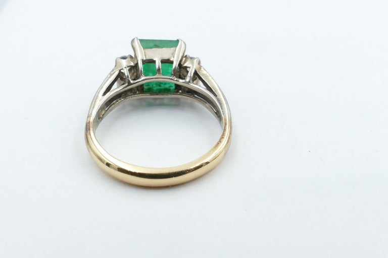 Emerald Cut Vintage 18 Carat Rose and White Gold Emerald and Diamond Dress Ring For Sale