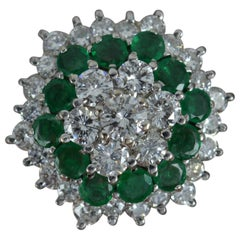 Vintage 18 Carat White Gold Vs 2 Carat Diamond and Emerald Cluster Ring