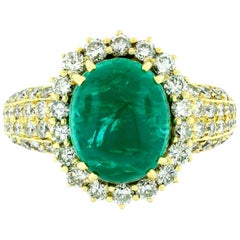 Vintage 18k Gold 8.58ct AGL Oval Cabochon Emerald and Pave Diamond Cocktail Ring