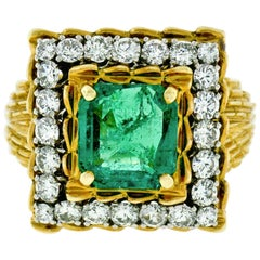 Vintage 18k Gold AGL 4.27ct Colombian Emerald and Diamond Textured Cocktail Ring