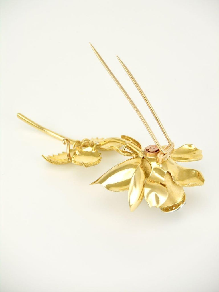 Romantic Vintage 18 Karat Gold and Diamond Rose Flower Brooch Pin, 1960s For Sale