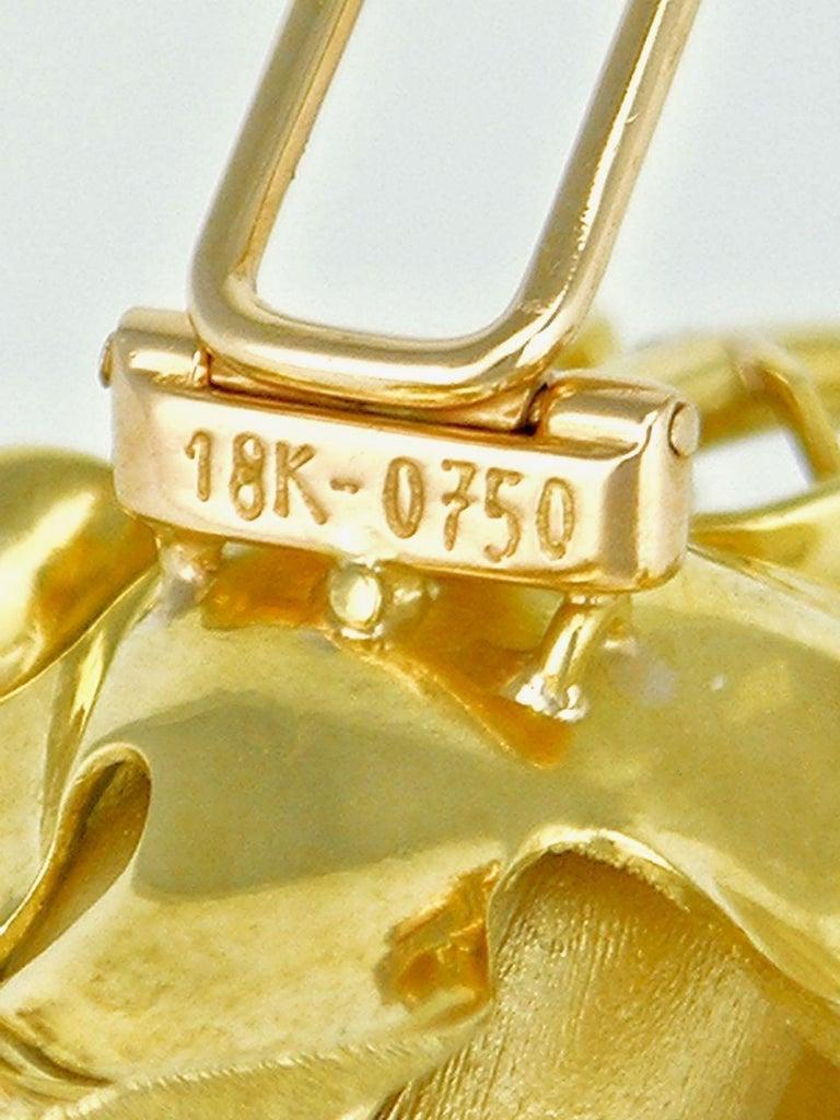 Women's Vintage 18 Karat Gold and Diamond Rose Flower Brooch Pin, 1960s For Sale