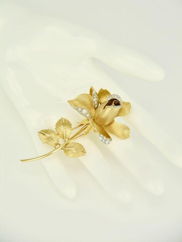 Vintage 18 Karat Gold and Diamond Rose Flower Brooch Pin, 1960s For Sale 1