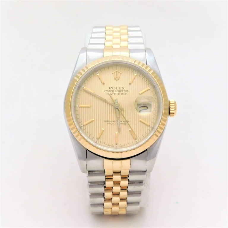 The Rolex Date Oyster Perpetual DateJust is one of the most sought-after men's luxury time piece in the world. It is a symbol of status.  A Southern estate piece.  Circa 1988.  This men's Oyster Perpetual DateJust has been crafted in solid 18k