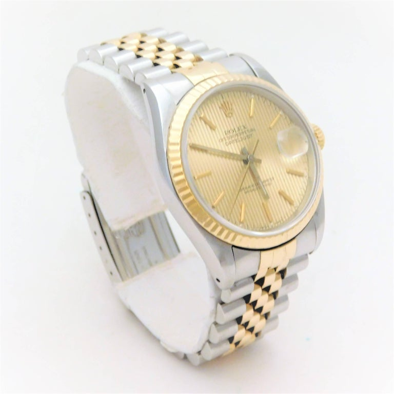 Rolex Yellow Gold Stainless Steel Oyster Perpetual Datejust Automatic Wristwatch In Good Condition For Sale In Metairie, LA