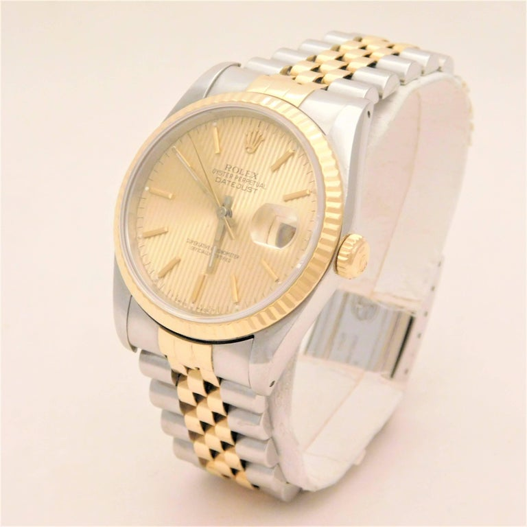 Women's Rolex Yellow Gold Stainless Steel Oyster Perpetual Datejust Automatic Wristwatch For Sale
