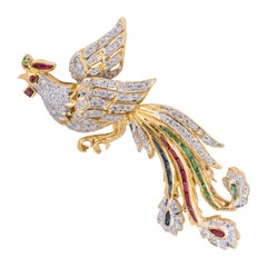 Vintage 18k Gold Diamond Emerald Ruby Peacock Brooch