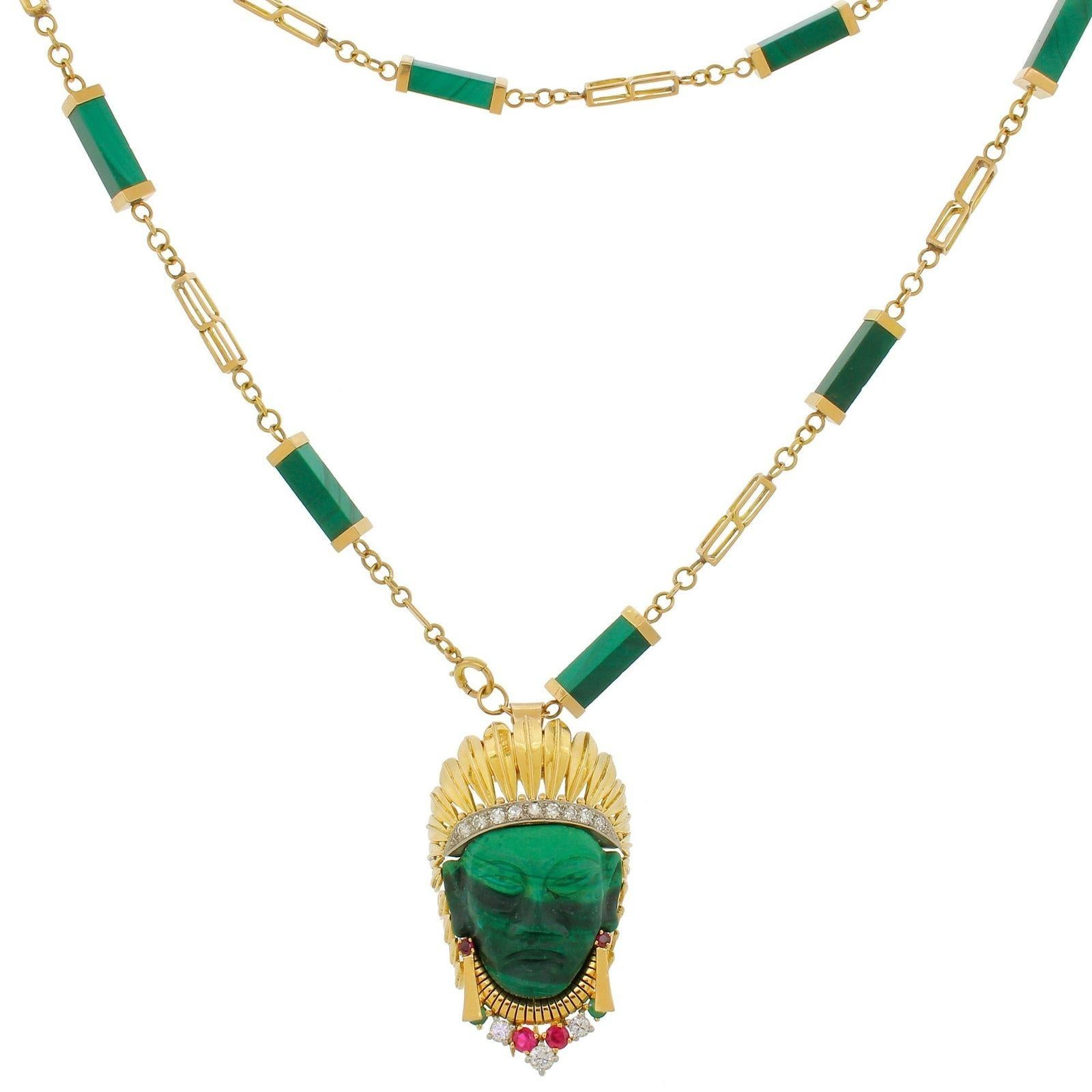 Vintage 18k Gold Diamond Ruby Malachite Indian Chief Clip Brooch 14k Necklace