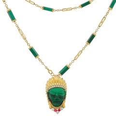 Vintage 18k Gold Halskette Rubin Malachit Indianerhäuptling Clip Brosche 14k