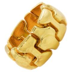 """Vintage 18K Gold Flexible-Link """"Nugget"""" Ring"""