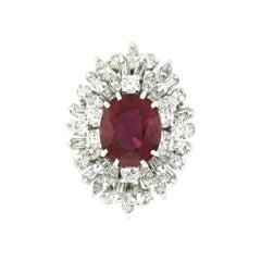 Vintage 18k Gold GIA 5.66ct Rubellite Tourmaline & Diamond Spray Ballerina Ring