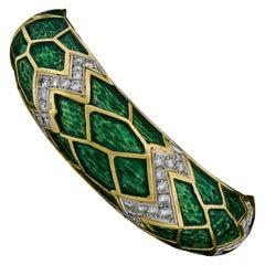 Vintage 18k Gold & Platinum 1.75ctw Diamond Green Enamel Hinged Bangle Bracelet