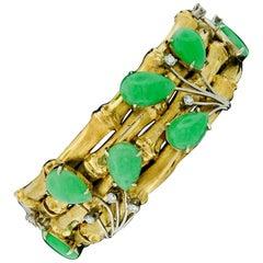 Vintage 18k Gold & Platinum Jade & Diamond 4 Row Wide Bamboo Bangle Bracelet