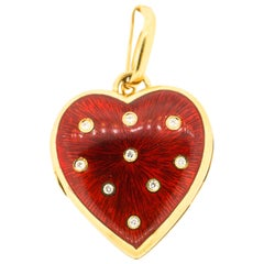 Vintage 18 Karat Gold Red Enamel Diamond Heart Pendant