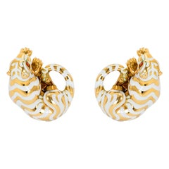 Vintage 18K Gold, White and Red Enamel Crouching Tiger Ear Clips by David Webb
