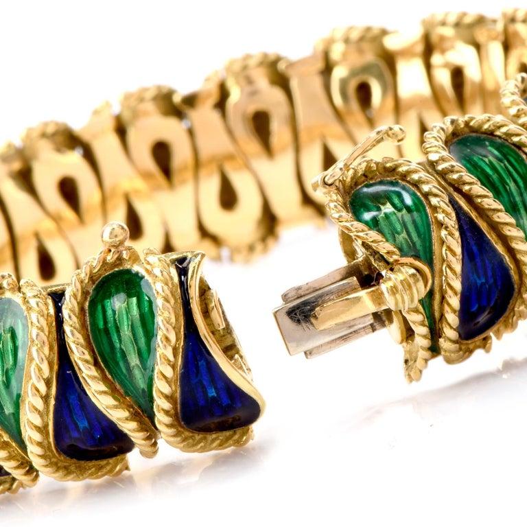 Women's or Men's Vintage 18 Karat Italian Serpent Blue Green Enameled Bracelet For Sale