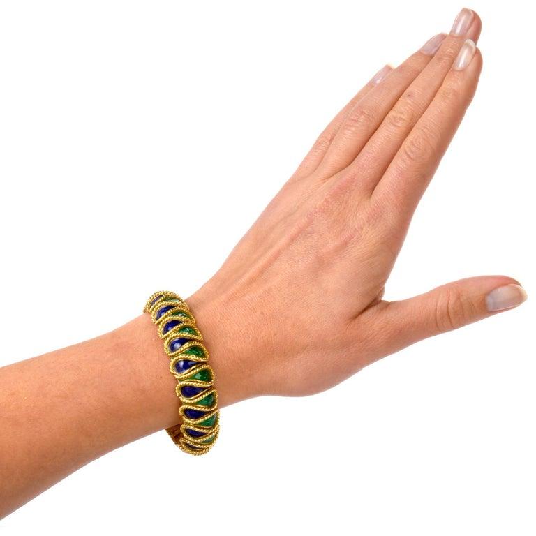 Vintage 18 Karat Italian Serpent Blue Green Enameled Bracelet For Sale 2