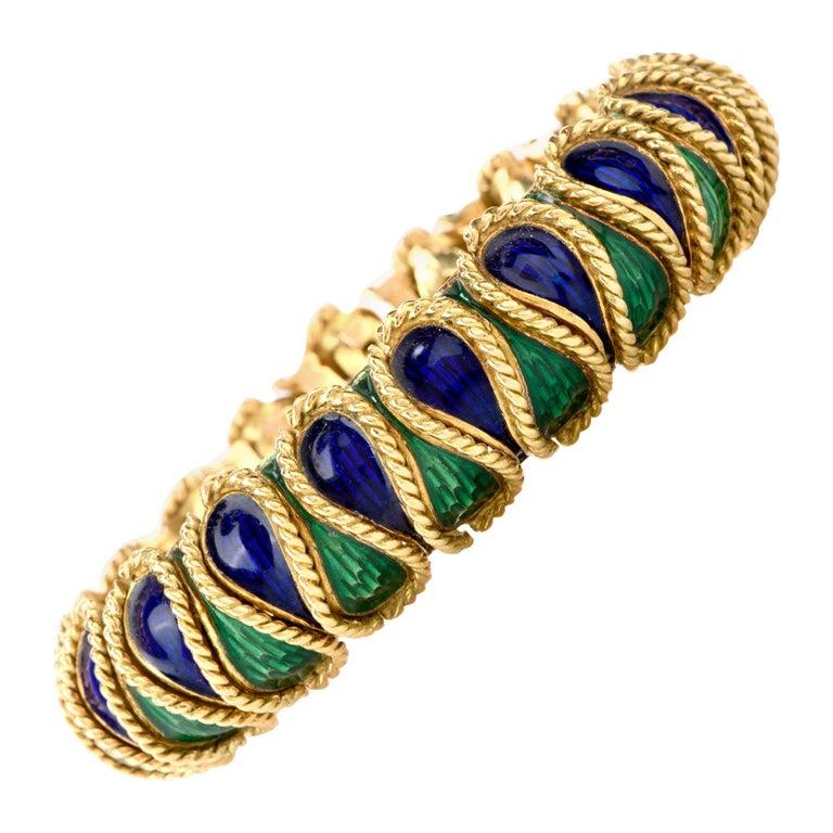 Vintage 18 Karat Italian Serpent Blue Green Enameled Bracelet For Sale