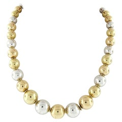 Vintage 18k Rose White Yellow Gold Graduated Round Ball Bead Necklace