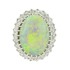 Vintage 18k Two Tone Gold GIA Fiery Opal Dual Diamond Halo Bead Open Work Ring