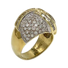 Vintage 18k Two Tone Pave Dome Ring, Circa 1985