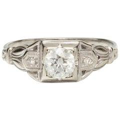Vintage 18K WG Diamant-Verlobungsring 18K WG 0,50 K I-SI1 1930
