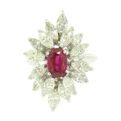 Vintage 18k White Gold 1.39ct GIA Ruby & Marquise Diamond Cocktail Cluster Ring