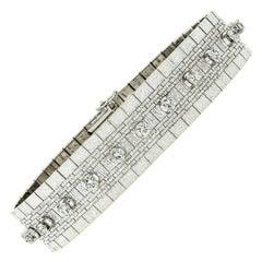 Vintage 18k White Gold 2.40ctw Round Diamond Brick Mesh Link Bracelet