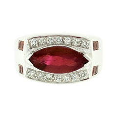 Vintage 18k White Gold 3.01ct GIA Marquise Red Spinel, Sapphire, & Diamond Ring