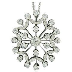 Vintage 18k White Gold 3.05ctw Old Euro Diamond Open Burst Pendant Necklace